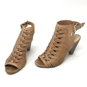Vince Camuto Emore Leather Woven Heel Sandals Shoe